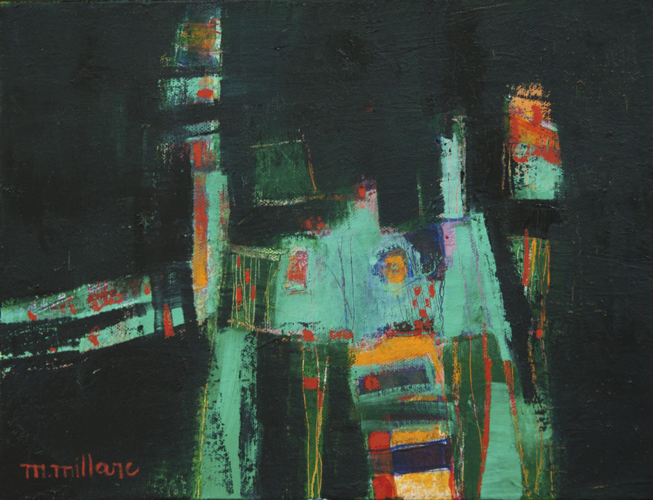 Millarc THE LATE SHOW Oil on canvas 9X12 $400